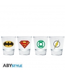Set 4 Shot Glass Dc Emblems