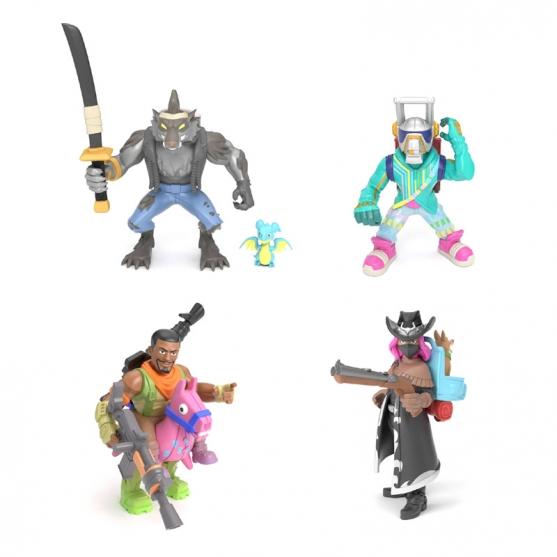 Set Figuras con Accesorios Fortnite, Dire, Calamity, Dj Yonder y Giddy-up, Royale Col. 5 cm