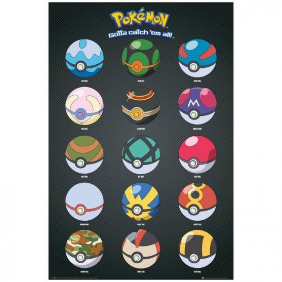Poster Pokémon Pokeballs, 91,5 x 61 cm
