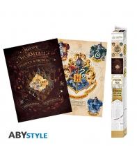 Pack 2 Posters Harry Potter, Hogwarts y Marauder's Map, 52 x 38 cm