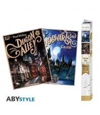 Pack 2 Posters Harry Potter, Hogwarts Castle y Diagon Alley, 52 x 38 cm