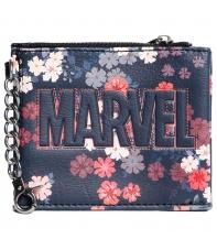 Monedero Tarjetero Marvel Logo Flores